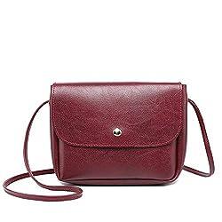 Rakkiss Women Shoulder Bag Retro Leather Solid Color Messenger Bag Lightweight Thin Shoulder Strap Crossbody Bag