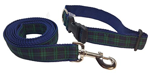preston-black-watch-tartan-dog-collar-and-leash-set-black-blue-and-green-plaid-ribbon-on-blue-nylon-