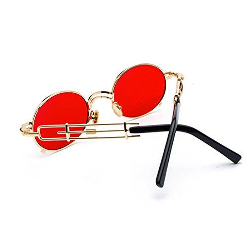 Gafas Tono Gafas de y metal sol Dorado Rojo recubrimiento de Circular de de sol gafas Gafas de de marco Espejo Yefree mujeres Hombres YnqUUpd