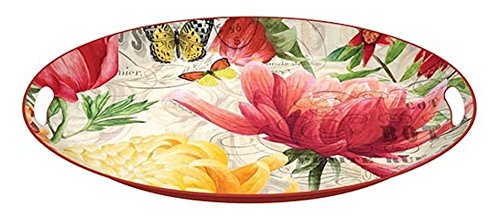 Michel Design Works 16.25 x 12.75 Morning Blossoms Decorative Oval Metal Platter
