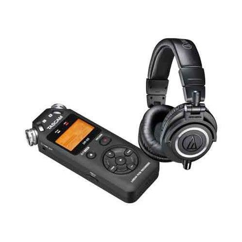 Audio-Technica ATH-M50x Professional Monitor Headphones (Black) + Tascam DR-05 Portable Handheld Digital Audio Recorder