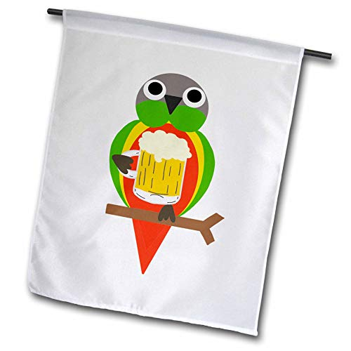 - 3dRose AllSouthernDesignTees - Drinking - Cool colorful fun conure parrot drinking beer out of a mug - 12 x 18 inch Garden Flag (fl_290672_1)