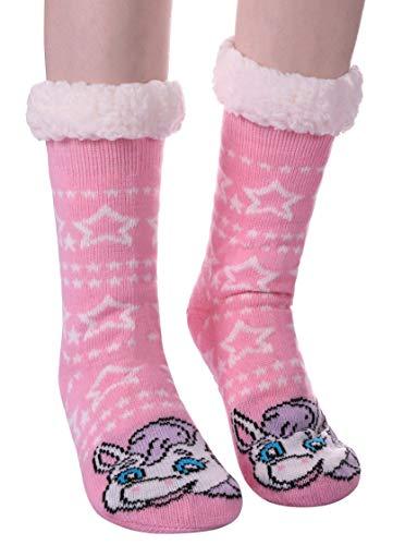 Womens Sherpa Winter Fleece Lining Knit Animal Socks Non Slip Warm Fuzzy Cozy Slipper Socks Horse