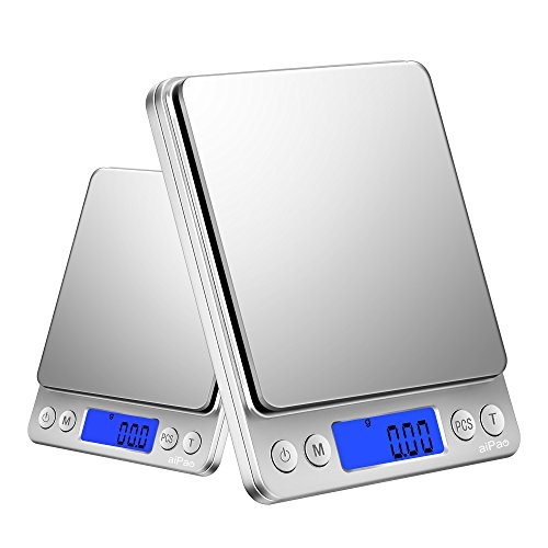 aiPao 3000g/0.1g Digital Kitchen Scales, High-precision Pocket Food Scale, Multifunctional Pro Scale with Back-Lit LCD Display, Lab Weight, (0.1g Digital Pocket Scales)