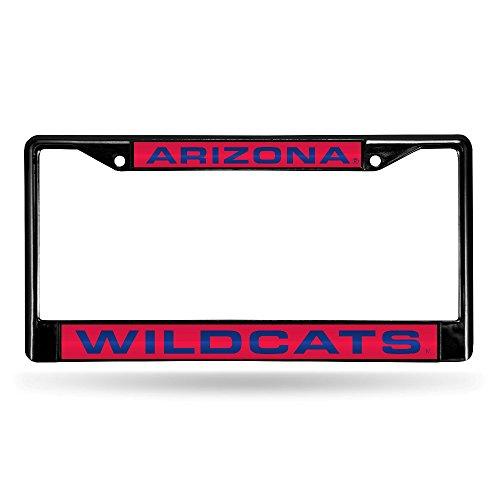 NCAA Arizona Wildcats Laser Cut Inlaid Standard Chrome License Plate Frame, Black