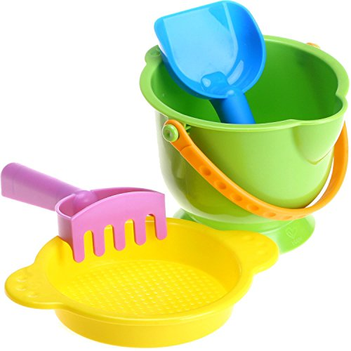 Hape Kid's Beach Toy Basics Including Bucket Sifter, Rake and Shovel Set (Sand Toys)