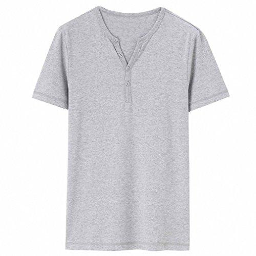 Men T-shirt Clothing Casual Tee Henley Neck Tshirt Camisa Masculina Short Sleeves Tee Shirt Homme at Amazon Mens Clothing store: