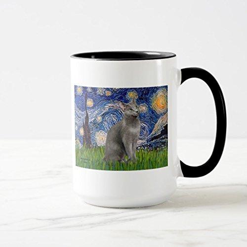 Zazzle Starry Night - Russian Blue Cat Coffee Mug, Black Combo Mug 15 oz (Mug Russian Ceramic)