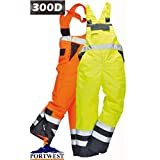 Men's Workwear 100% Polyester Waterproof Contrast Bib N Brace Ulined Dungarees Ideal for Work Fish Boat Sail Orange/Navy/yellow/Navy (Medium Waist To Fit 33-34, Yellow/Navy) by Portwest