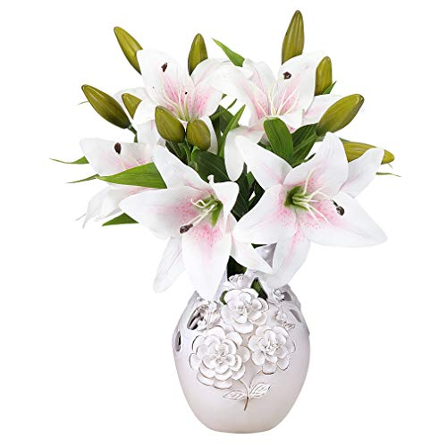 Long Lilies Pink Calla Stem (YOBANSA 5 pcs Artificial Lily Flowers Real Touch Artificial Flowers Arrangement Wedding Bouquets Home Party Decoration (White Pink Heart))