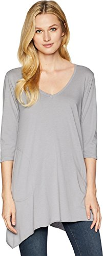 Allen Allen Women's 3/4 Sleeve V-Angled Tunic Pale Grey Small - Allen Allen Womens Clothing