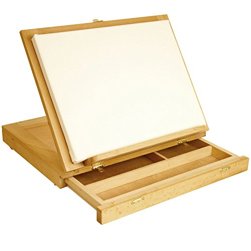 U.S. Art Supply Solana Adjustable Wood Desk Table Easel with Storage Drawer, Paint Palette, Premium Beechwood - Portable Wooden Artist Desktop, Board for Canvas, Painting, Drawing Sketching Book Stand by US Art Supply (Image #1)