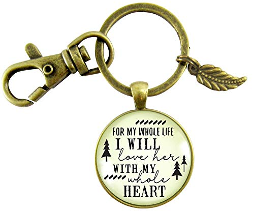Father of The Bride Gift Keychain For My Whole Life I Will Love Her Promise From Groom Rustic Wedding Mens Key Ring (Wedding Poems For Bride And Groom From Friends)