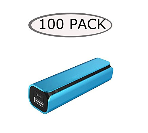 100 Wholesale Lot E3tronics 2600mAh Portable External Power Bank Battery Charger for iPhone 6 5 5S 4S 3GS, Most of Android Phones, Tablets (Blue)