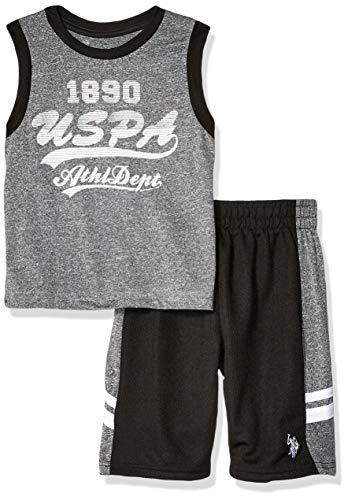 U.S. Polo Assn. Boys' Little 2 Piece Athletic Tank and Mesh Short Set, Sport Black, 5/6