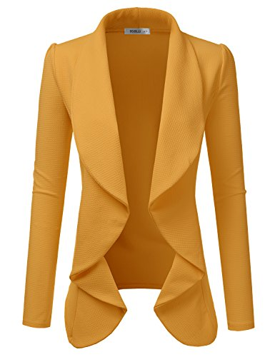 TWINTH Women's Solid & Floral Stretch Long Sleeves Open Front Blazer Jacket Plus Size Mustard 2X Plus Size