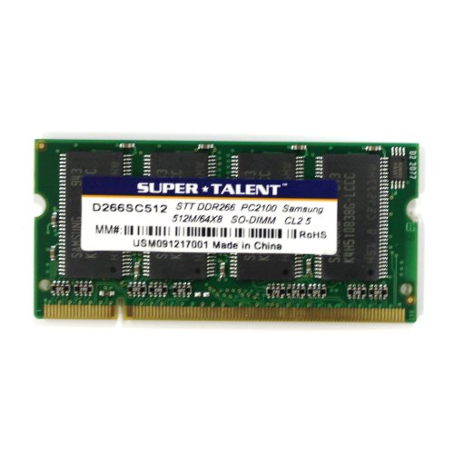 Super Talent DDR266 SODIMM 512MB/64x8 Notebook Memory D266SC512, Bulk ()