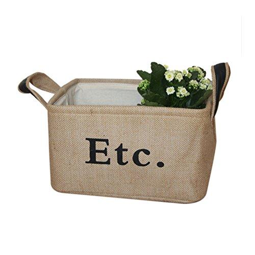 LOVOUS Vintage Eco-friendly Jute Linen Square Storage Bin fo
