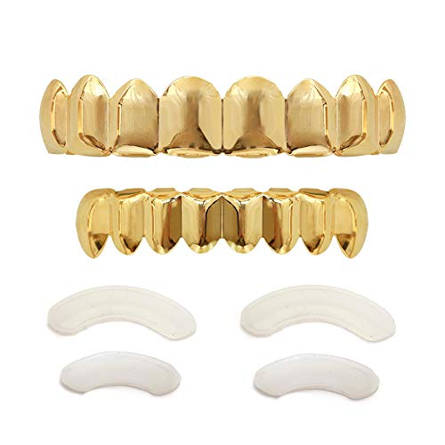 TSANLY 24K Plated Gold Grillz 8 Teeth Mouth Top & Bottom Set Hip Hop Bling Grills for Men + Microfiber Cloth