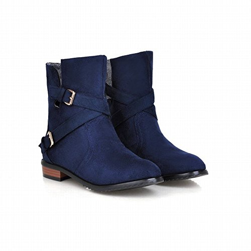 Latasa Womens Fashion Suede Buckle Strap Chunky Low-heel Ankle-high Pull on Jodhpur Boots Slouch Boots Dark Blue 9vkVyXAr