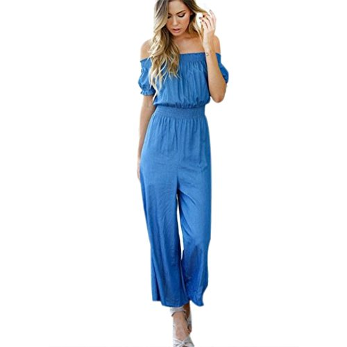 Women Jumpsuits ,BeautyVan Fashion Design Summer Sexy Women Jumpsuits Long Pant Strapless Shoulder Waist Shoulder Pants Jumpsuits (XL, Blue)