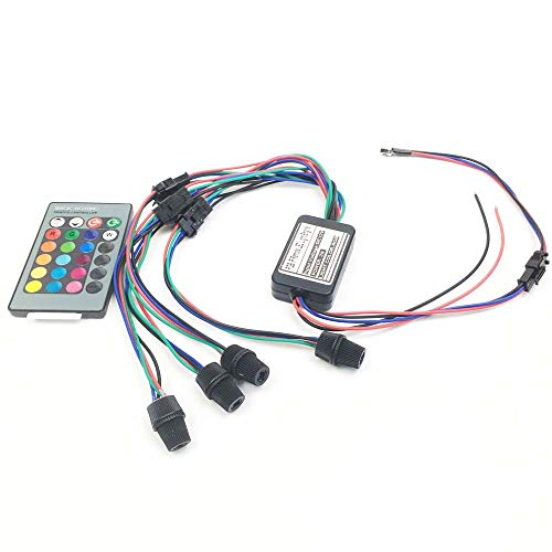 Rayauto 24key Remote RGB 2W DC 12V Car Home Light Side Glow Fiber Optic light Source illuminator Power Engine Supply 4 Head