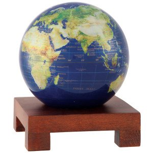 6'' Satellite View with Gold Lettering MOVA Globe with Square Base in Natural Wood