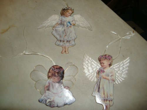 (Angel Ornaments Collection. Garden Miracle, Loving Kindness, and Gentle Guardian Angel Ornaments.)