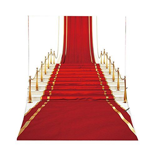 SODIAL(R) Red Carpet Theme Photography Backdrops Vinyl 5x7FT/150X210cm Background Photo Studio Props For Stage or Prom