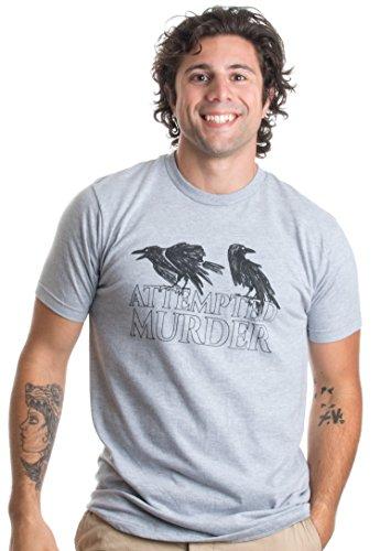 JTshirt.com-19769-Attempted Murder | Funny Wordplay Crow Pun, Dumb Random Humor Unisex T-shirt-B01JH94PV4-T Shirt Design
