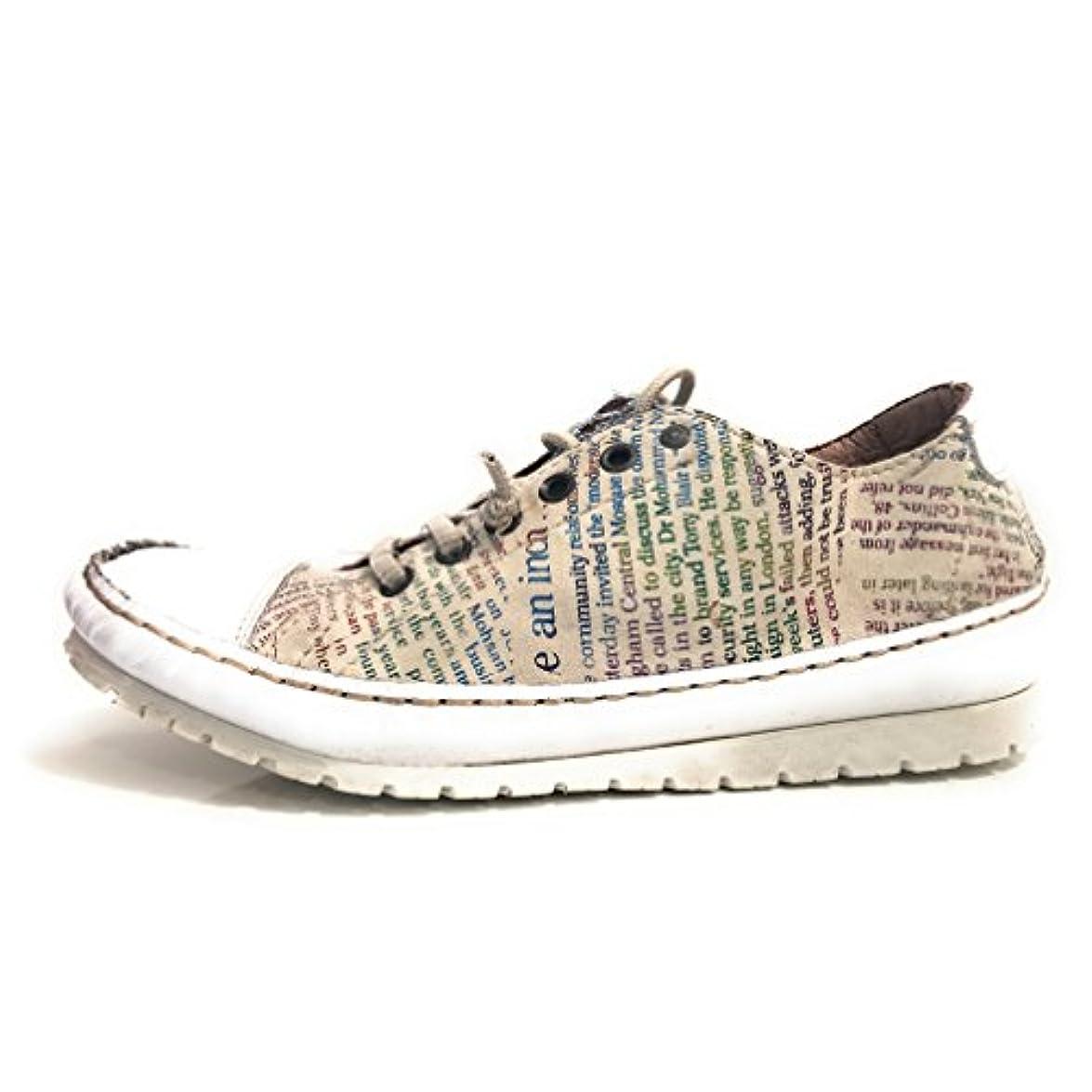 Clocharme Scarpe Donna Sneaker Basso Giornale Pelle Cucita Mano Ds15cc34