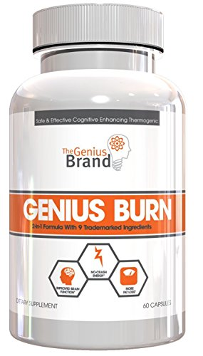 Genius Burn - 2-In-1 Focus Enhancing Thermogenic Fat Burner, Caffeine Free Nootropic Weight Loss Supplement, Natural Energy, Memory and Brain Boost with 9 Clinically Validated Ingredients, 60 V-Caps