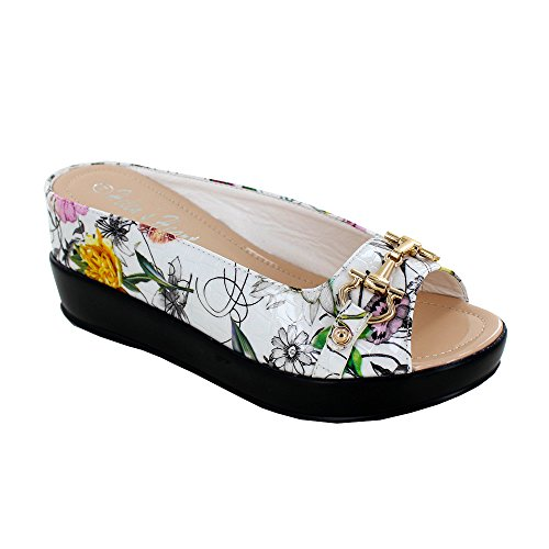 Women's Crocodile Leather Textured Hidden Wedge Slide Sandal with Bit Top, 8127-40, Floral, Size 6