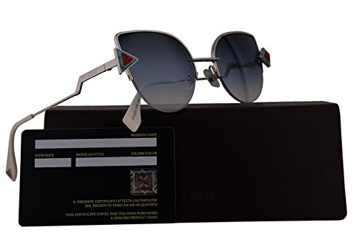 Fendi FF0242/S Sunglasses Silver w/Dark Blue Gradient 52mm Lens SCBNE FF0242S FF 0242S FF - Fendi Sunglasses Prescription