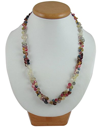 D&D Natural Super Fine Tourmaline drop shape 1 line adjustable necklace with silver hook by D&D