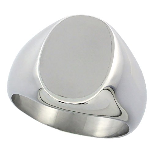 Surgical Stainless Steel Oval Signet Ring Solid Back Flawless Finish 5/8 inch, size - Oval Ring Mens Signet