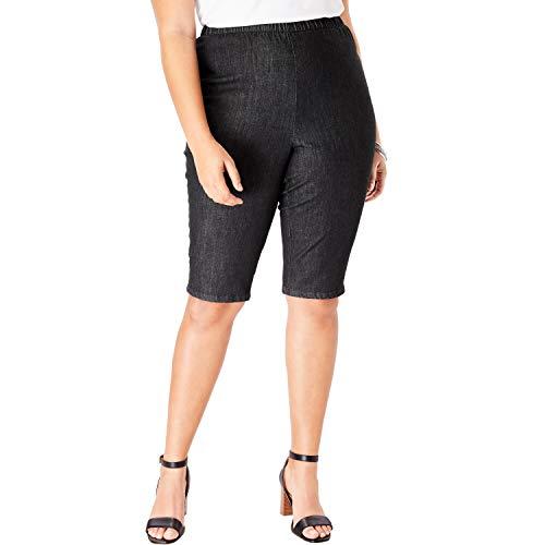 Roamans Women's Plus Size Pull-On Stretch Denim Bermuda Short - Black Denim, 22 W ()