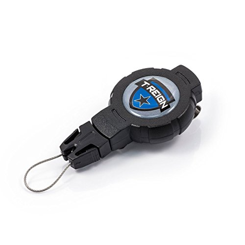 T-REIGN Outdoor Small Retractable Gear Tether, Rotating Belt Clip, 24 Kevlar Cord, 4 oz. Retraction, Black Polycarbonate Case, Universal Attachment