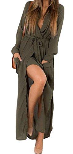 Manches Longues Femmes Cromoncent Coupe Ample Croisillons Profonde Encolure En V Voir Par Fente Côté Vert De L'armée De Longues Robes Ceinturée