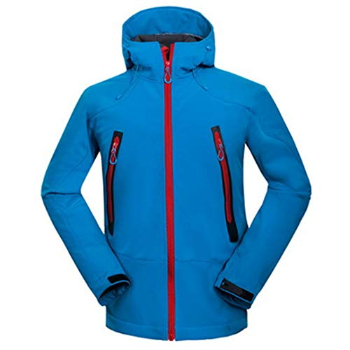 FieldShuFu Softshell Jacket Men Winter Warm Coat Waterproof Windproof Thermal Jacket Clothing Blue XL