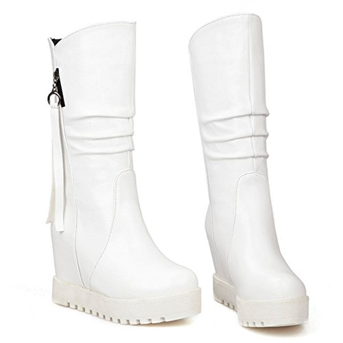 Women Shoes Mid Heel Autumn Boots High Classical Wedges TAOFFEN White Winter High d0SgfdF