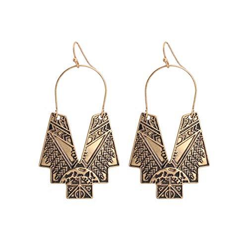Ellevera Boho Earrings for Women Girls Antique Gold Chevron Pattern Carved Statement Ethnic Earrings