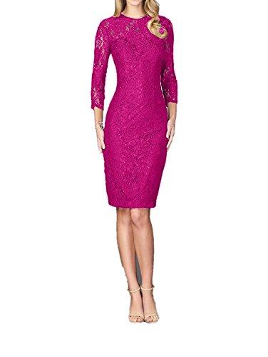 Pink Abendkleider Damen Charmant Ballkleider Gruen mit Langarm Spitze Dunkel Knielang Brautmutterkleider wOHHTqUZS