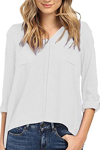 Linen Pullover - Fixmatti Women Fall Crewneck Roll-Sleeve Pullover Blouse Shirt Tops White 2XL