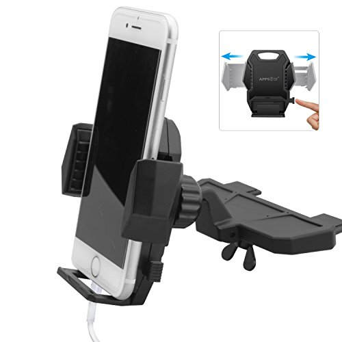 Sturdy CD Player Phone Mount, APPS2Car Three Side Grips Car Holder for iPhone X 8 plus 7 6S 6 5S, Samsung Galaxy S9 S8 S7 edge S6 S5 A9 A8 Note 8, Google Pixel XL Phone Mount, Android Phone Holder (Gps Set)