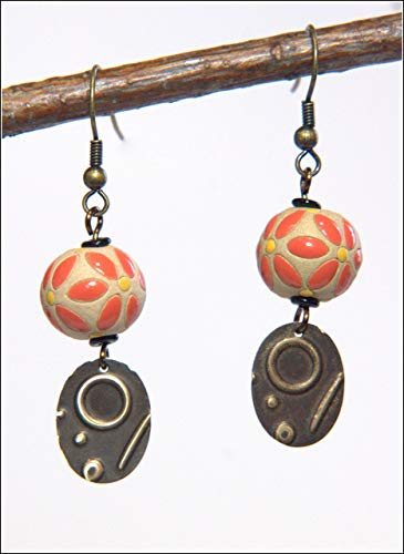 - Red Petal Yellow Dots Stoneware Earring - Abstract Design Embossed Ovals, 1.75-in