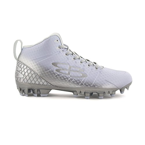 Boombah Mens Gunner Molded Mid Football Cleats - 12 Color Options - Multiple Sizes White/Silver
