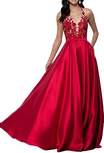 2019 Open-Back Designer Prom DressApplique Long V-Neck Halter Prom Dress Red Backless Evening Dresses A-line Bridesmaid ()