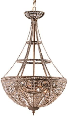 Livex Lighting 8882-65 Island Pendant with Crystal and Hand Crafted Gold Dusted Glass Shades, Vintage Gold Leaf