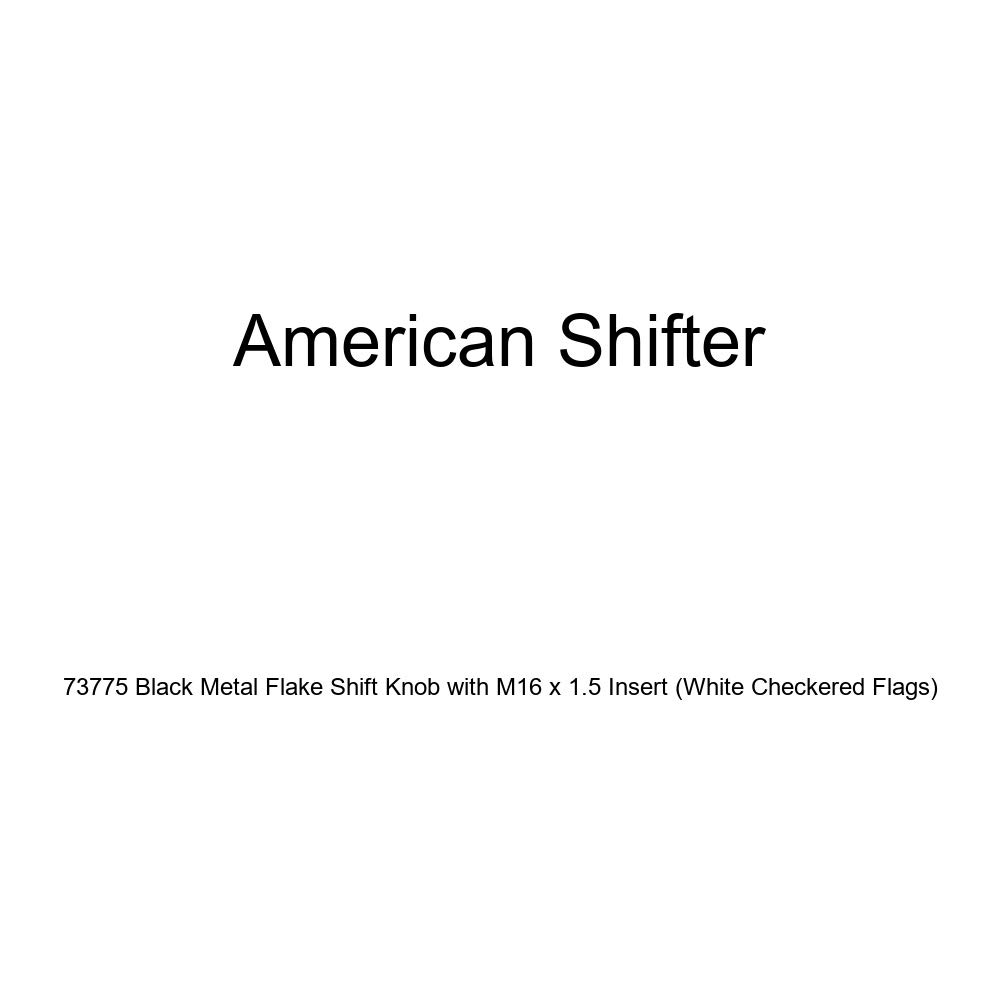 American Shifter 73775 Black Metal Flake Shift Knob with M16 x 1.5 Insert White Checkered Flags
